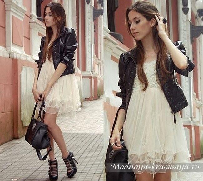 кожаная куртка с шифоновым платьем