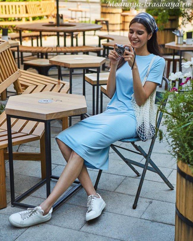 Голубое платье-футболка