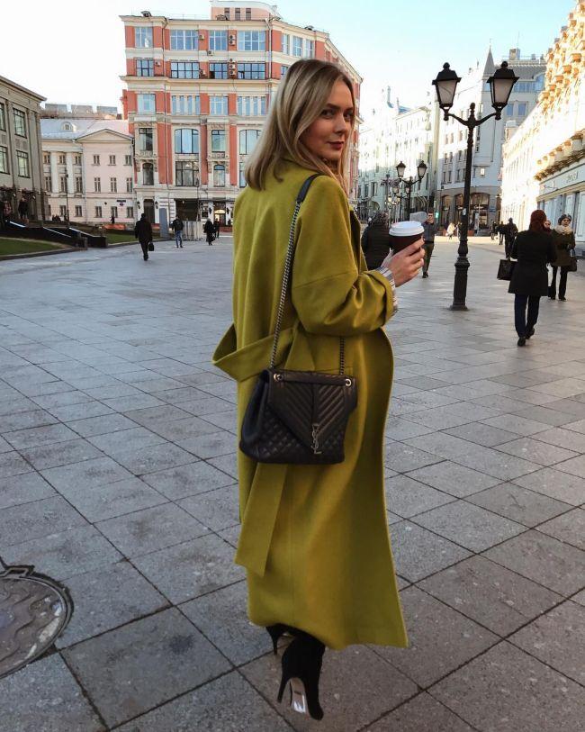Пальто-кимоно салатного цвета