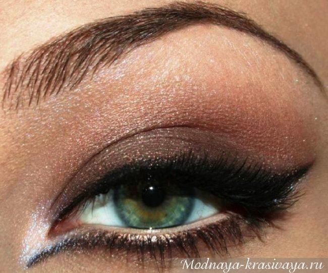 Коричневые тени макияжа для зеленых глаз