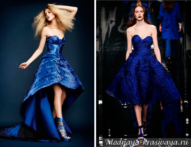 Синие вечерние платья на выпускной