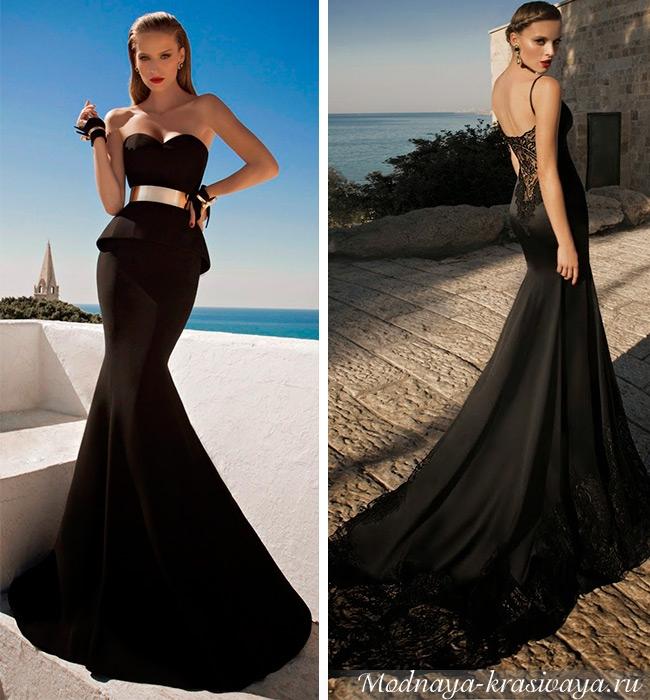 Черное платье фасон рыбка