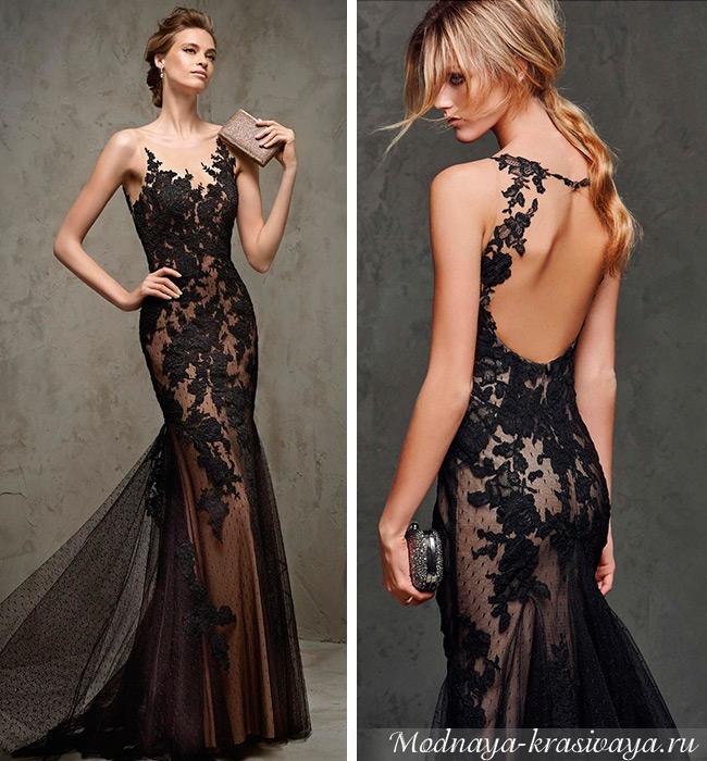 Вариант длинного платья с открытой спиной