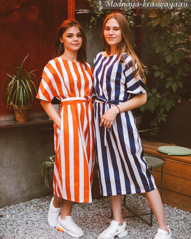 Платья-рубашки в полоску 2019