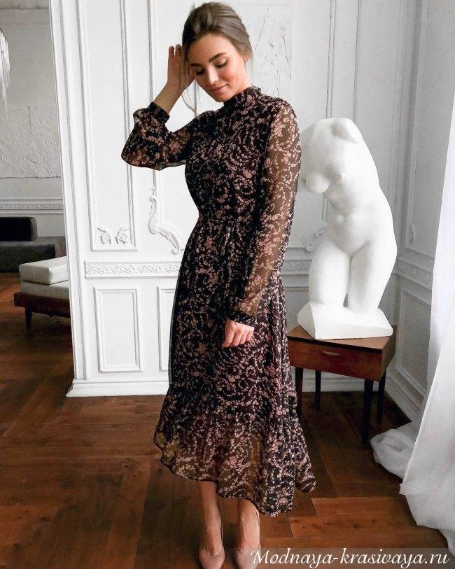 Повседневное платье с цветочным принтом 2019