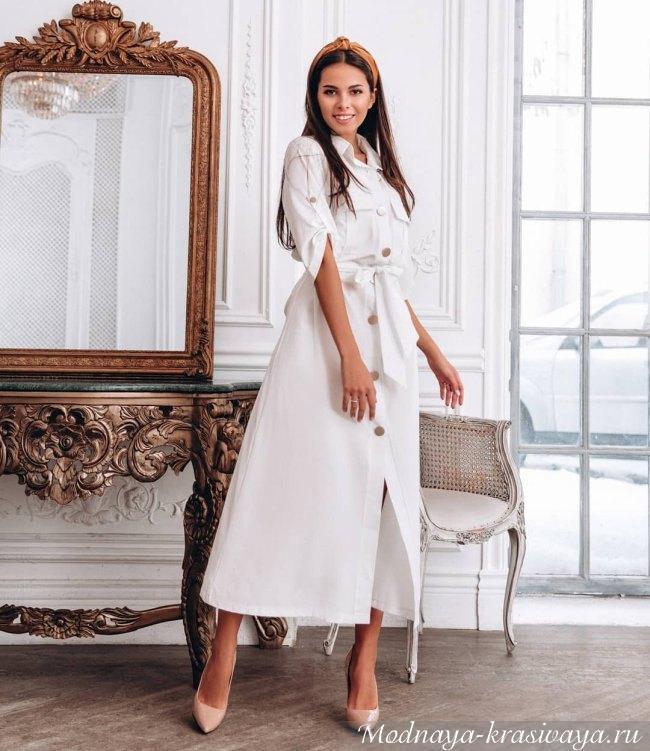 Белое повседневное платье 2019