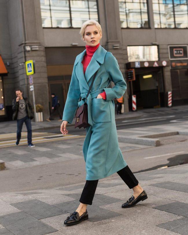 пальто халат бирюзового цвета