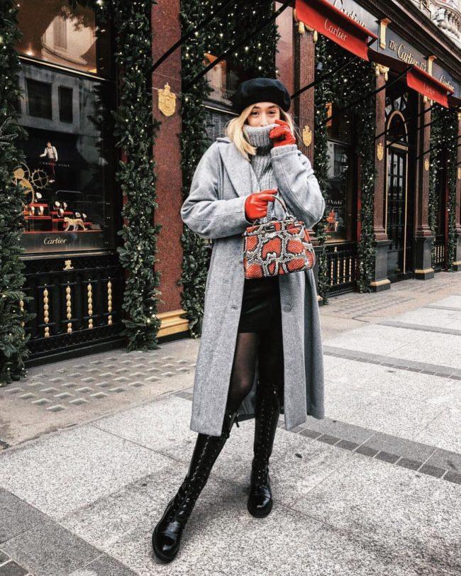 модное пальто с беретом