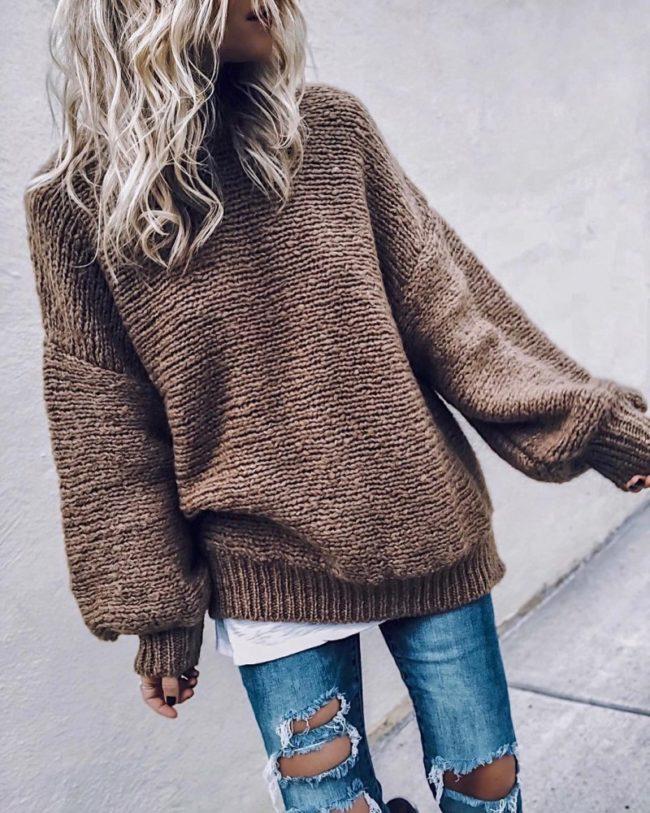 оверсайзный свитер для девушки