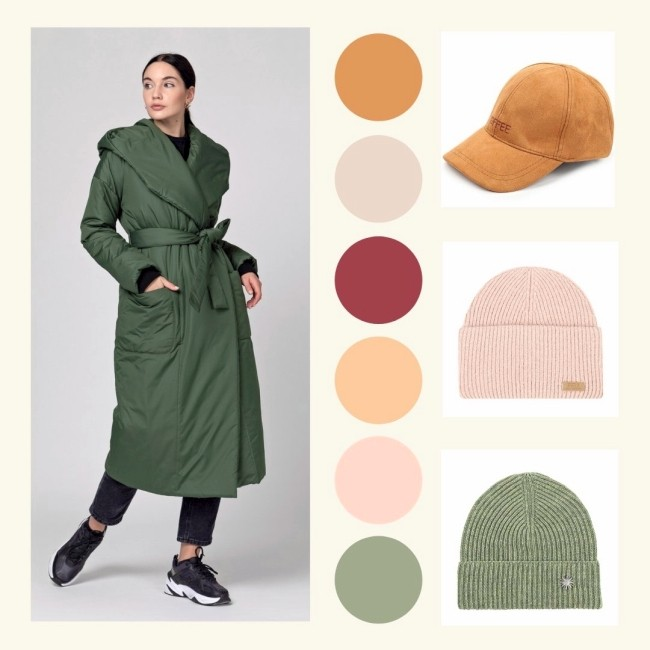 шапка к зеленому пуховику