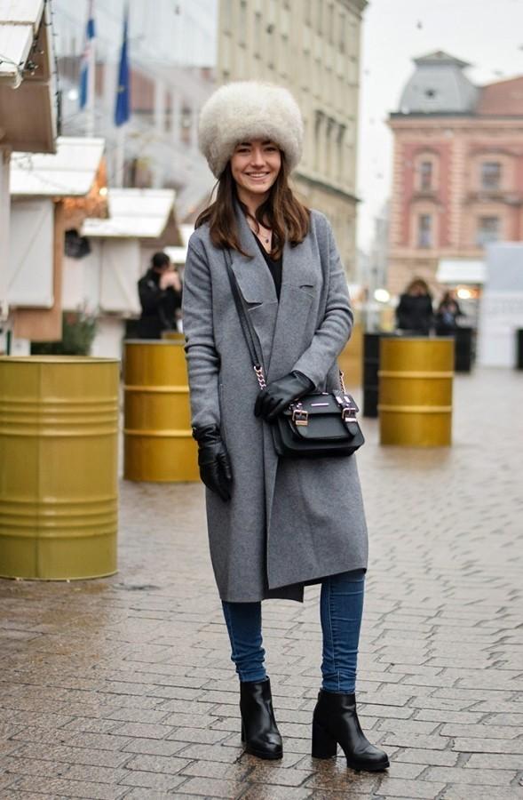 шапка ушанка с пальто