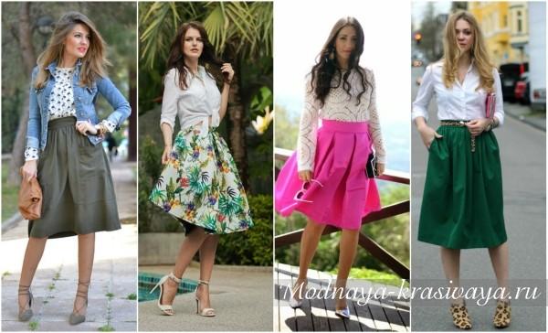 Цветные юбки летом