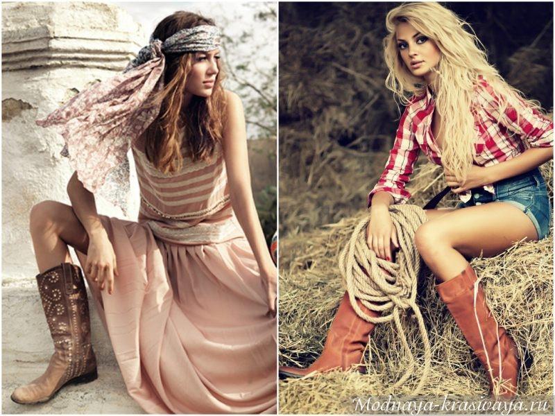 С чем носить женские ковбойские сапоги?