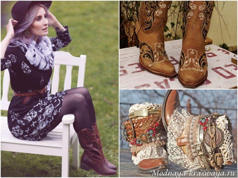 Женские ковбойские сапоги с декором