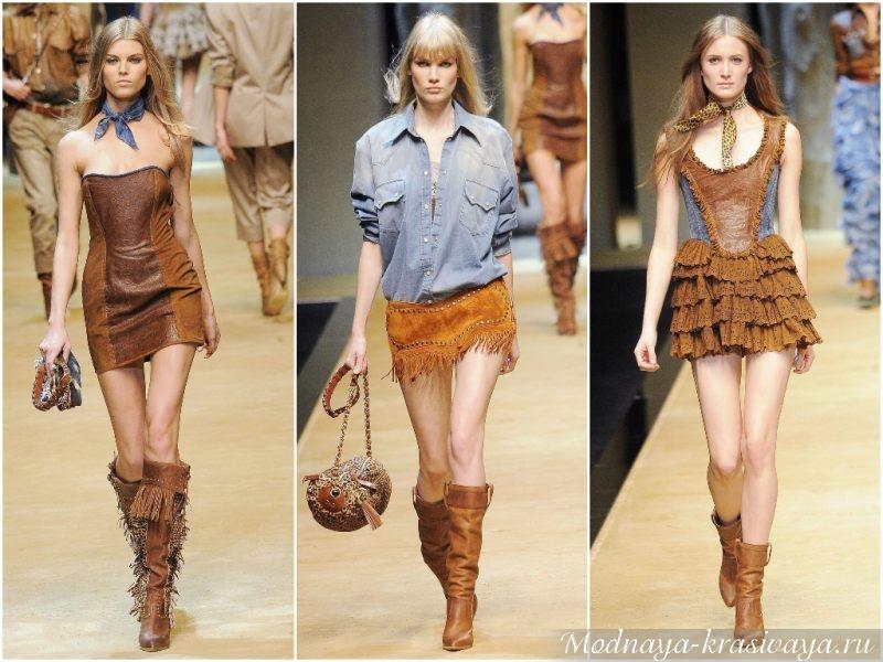 Короткие платья с ковбойской обувью
