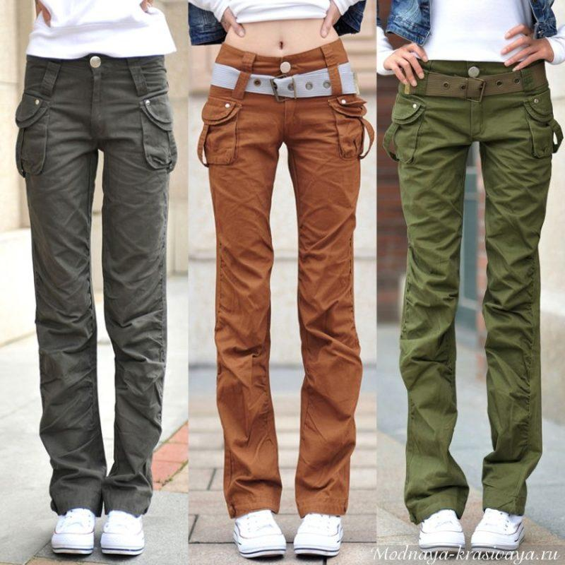 Модные карго с карманами для девушек