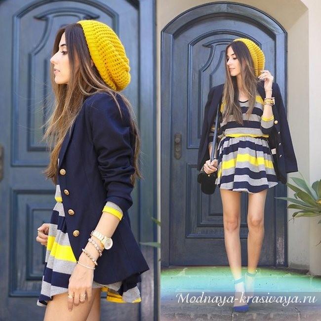 желтый вязаный с платьем
