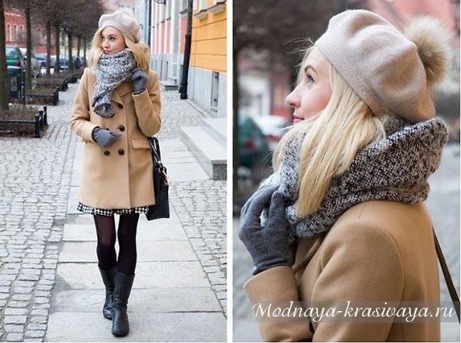 как носить зимой с пальто
