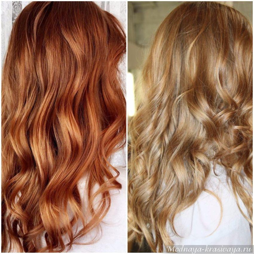 Рыжие волосы после процедуры брондирования