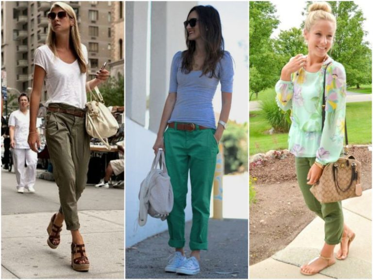 Зеленые брюки чинос с чем носить