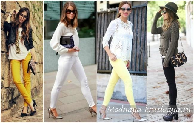 желтые джинсы-скинни, фото