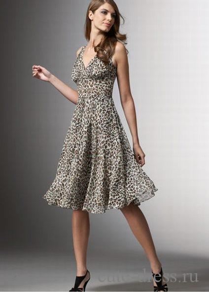 Леопардовое платье из шифона, летящий силуэт