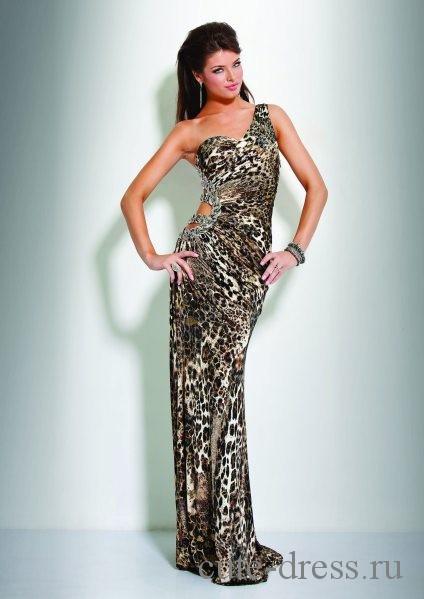 Платье с леопардовым принтом в пол, фотография