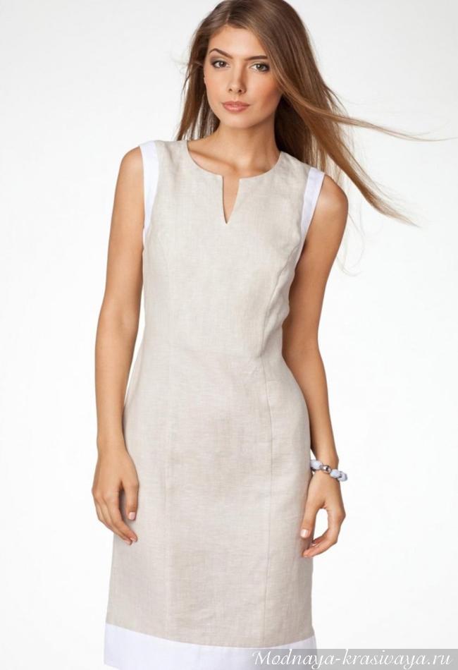 Строгое платье из некрашенного льна
