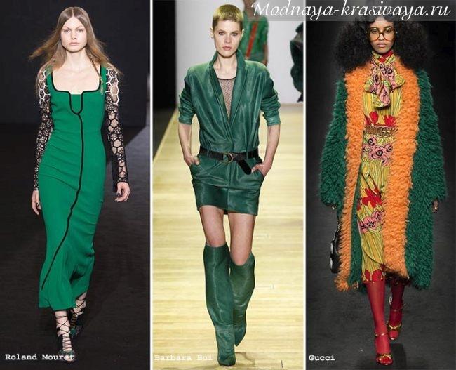 зеленое платье и пальто