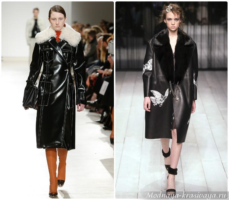 Зимние кожаные пальто