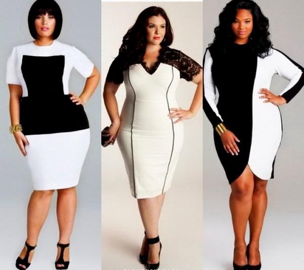 черно-белые платья для полных