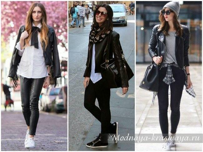 городской стиль с черными джинсами