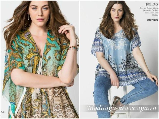 красивые туники и блузки большого размера