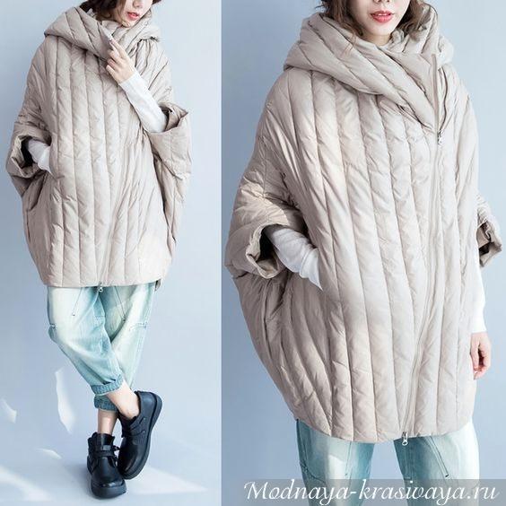 Объемное пальто песочного цвета