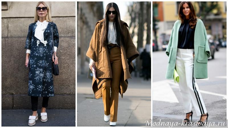 Сочетание пальто и блузки