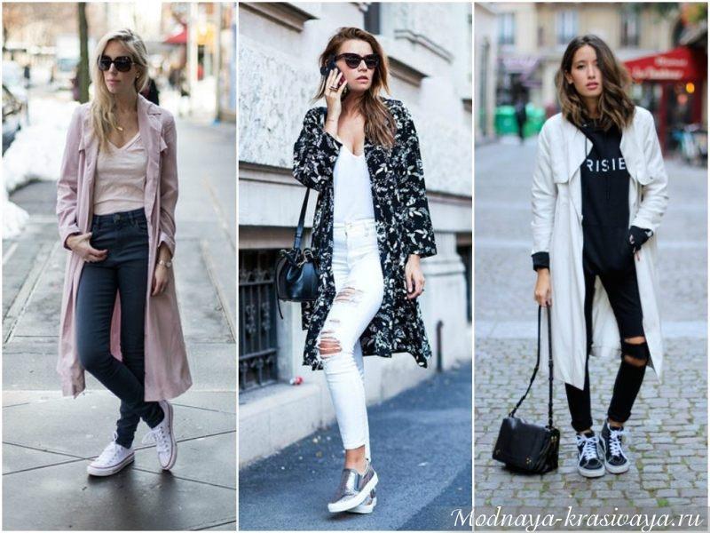 Легкое пальто с джинсами