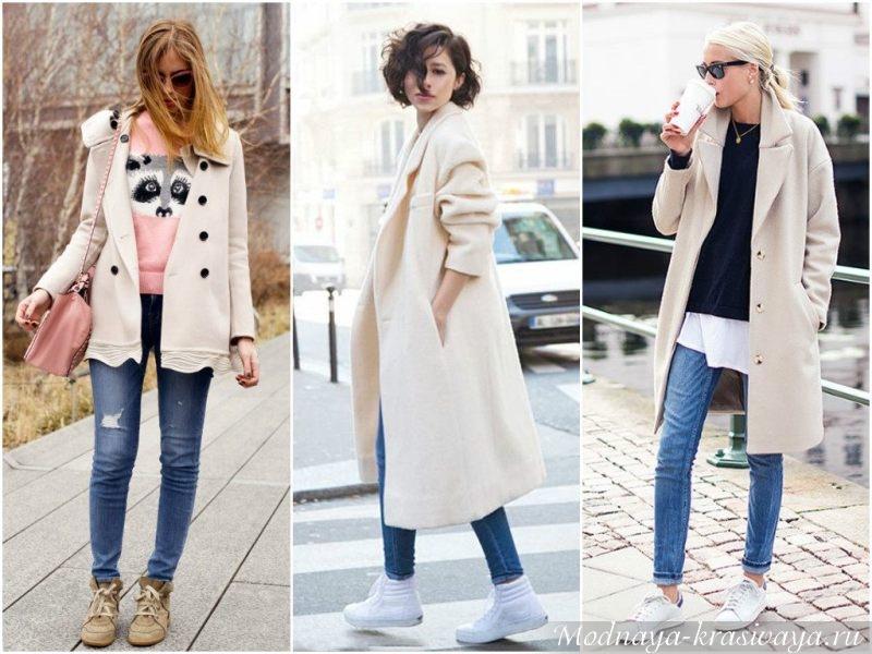 Объемные пальто и кеды