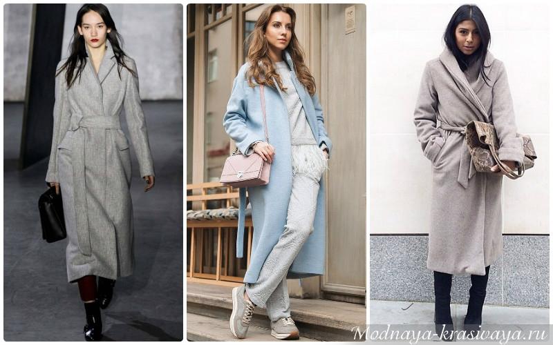 С чем носить пальто-халат?