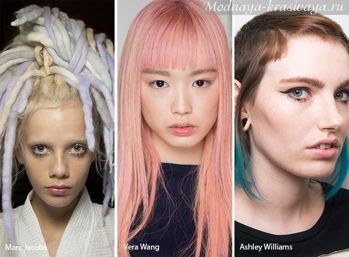 Разноцветные пряди и волосы