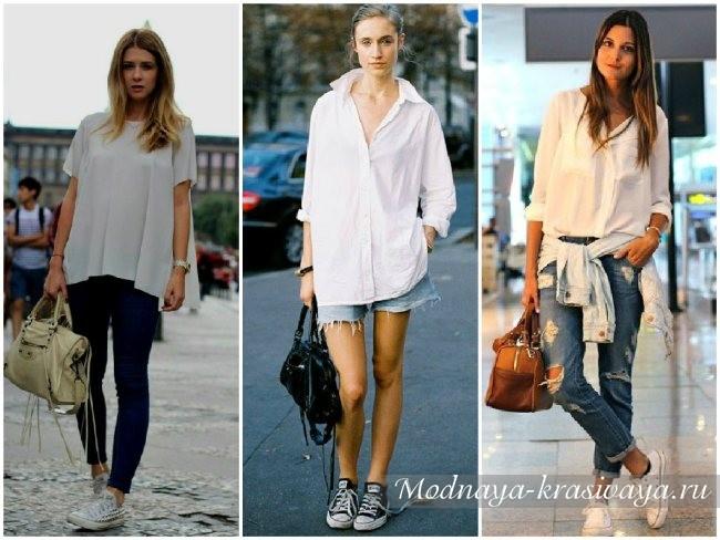 сочетание с рубашками и белыми блузками