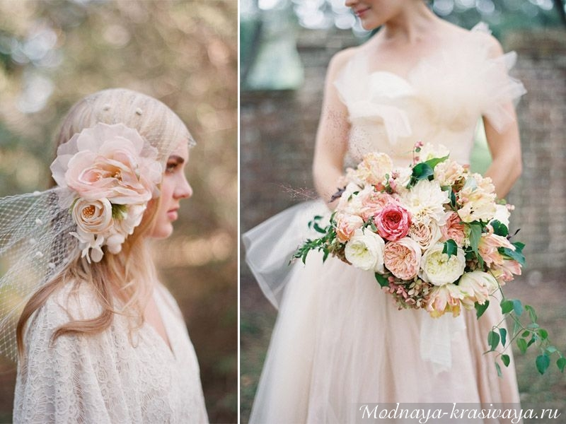 Нежный розовый свадебный наряд