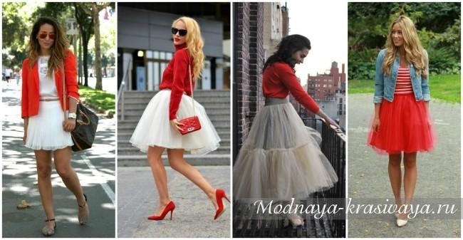 С чем носить красную шифоновую юбку