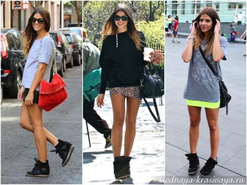 Черная модель обуви с мини юбками