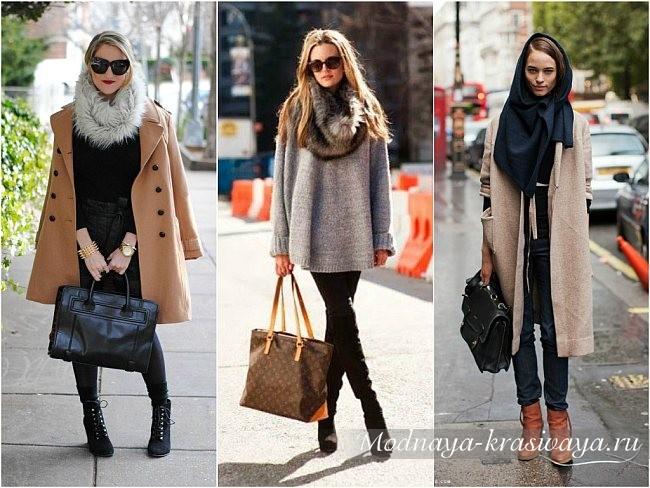 в сочетании с пальто