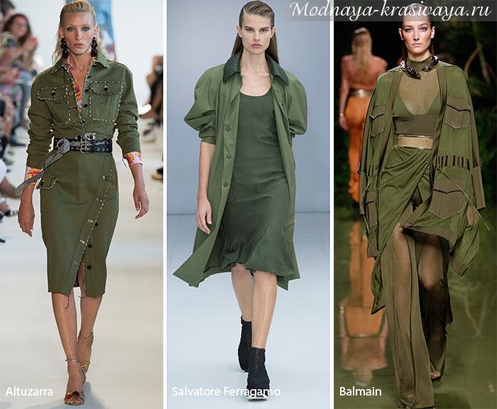 Дизайнерские платья цвета хаки
