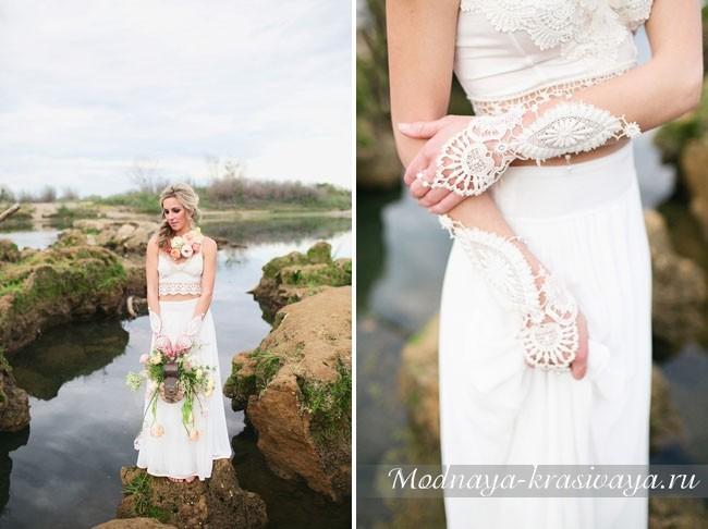 Длинное белое платье в стиле Бохо