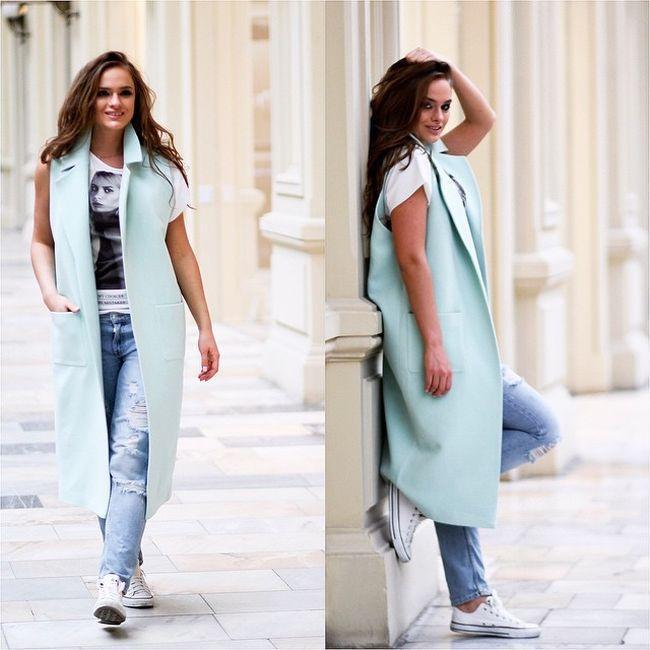 Модные образы с удлиненным жилетом