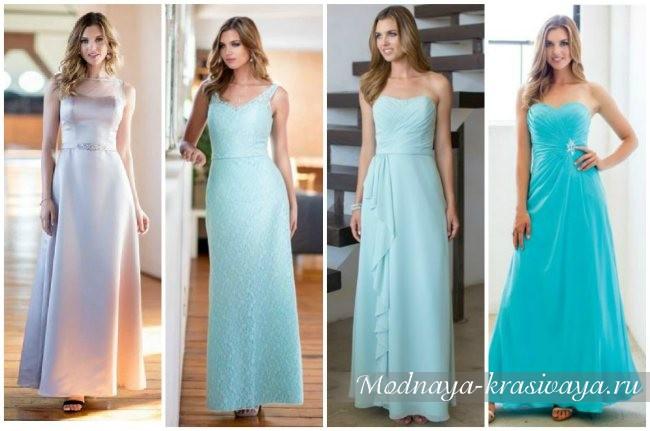 длинные бирюзовые платья
