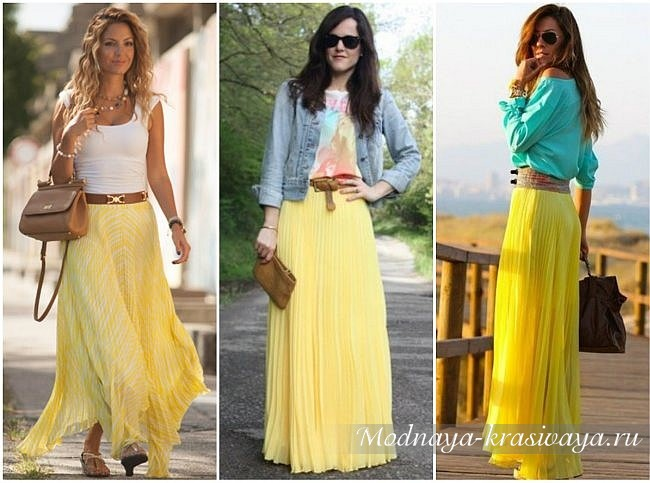 С чем носить цветные шифоновые юбки