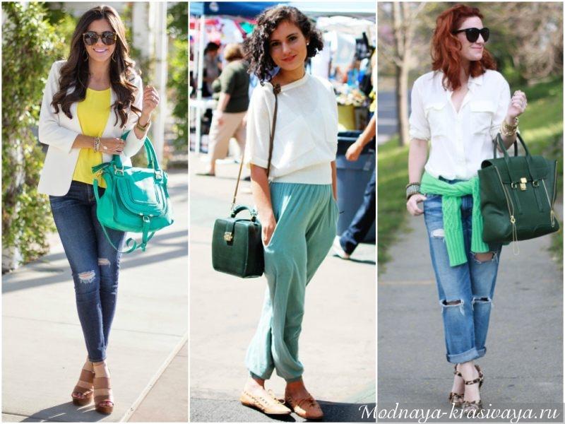 Зеленые сумочки разных оттенков
